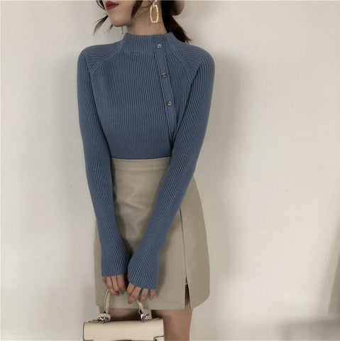 Image of Fashion Long Sleeves   Half High Collar Shown Thin Knitted Sweater Apricot one size