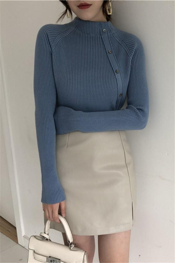 Fashion Long Sleeves   Half High Collar Shown Thin Knitted Sweater Blue one size