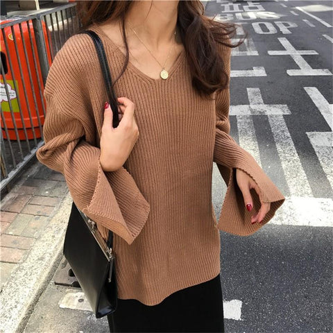 Image of Fashion Horn Sleeve   Thickened Loose Knitted Sweater Apricot one size