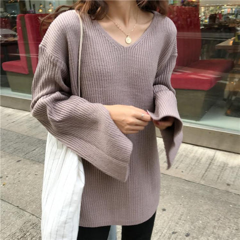 Image of Fashion Horn Sleeve   Thickened Loose Knitted Sweater
