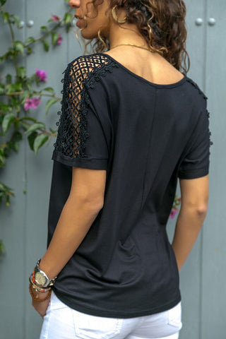 Image of Fashion Pure Color V   Neck Hollow Stitching T Shirt Blouse Black xl