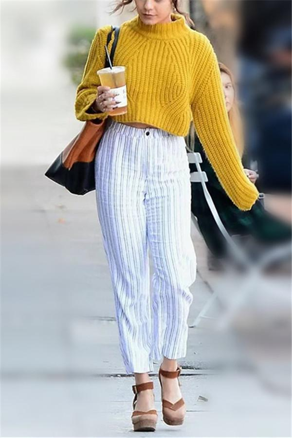 Fashion Casual  High Collar And Short Style Long Sleeve Knitted Sweater Yellow s