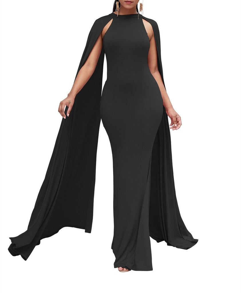 Pure Color High Waist  Slim  Maxi Dresses Black xl