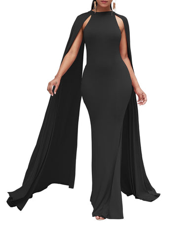 Image of Pure Color High Waist  Slim  Maxi Dresses Black xl