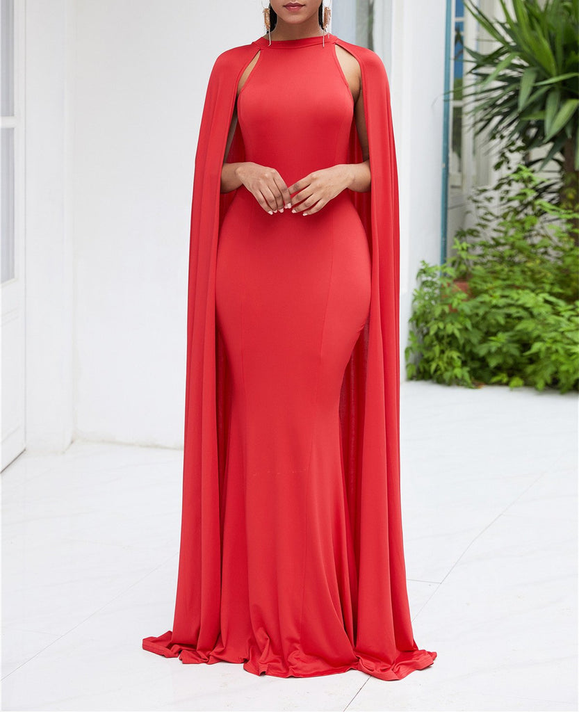 Pure Color High Waist  Slim  Maxi Dresses Red xl