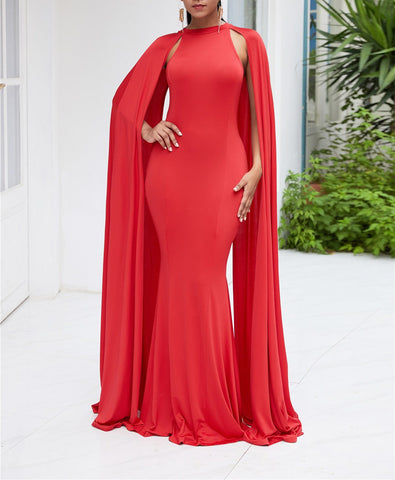 Image of Pure Color High Waist  Slim  Maxi Dresses Red 2xl