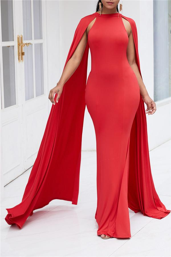 Pure Color High Waist  Slim  Maxi Dresses Red m