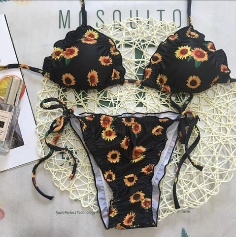 Image of Sexy Bikini Sunflower Print Ruffle Trim Swimsuit