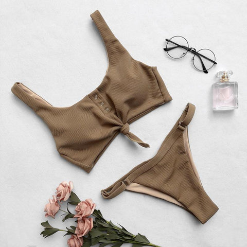 Image of Sexy bikini button adjustable one-piece swimsuit Brown l