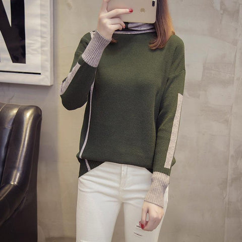 Image of Autumn and winter   high-collared loose bottom sweater Gray xl