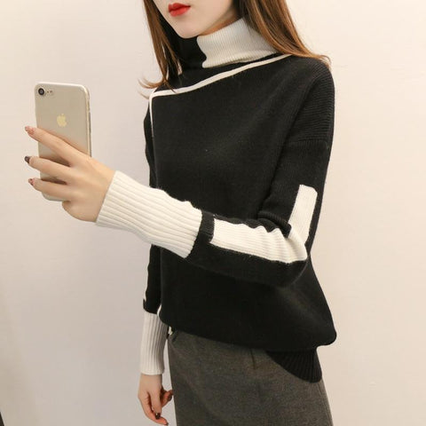 Image of Autumn and winter   high-collared loose bottom sweater
