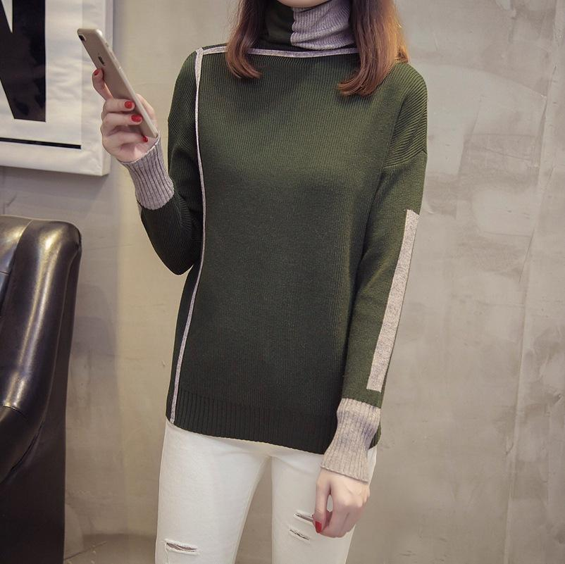 Autumn and winter   high-collared loose bottom sweater Gray s