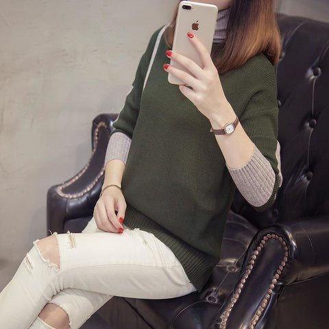 Image of Autumn and winter   high-collared loose bottom sweater Gray l
