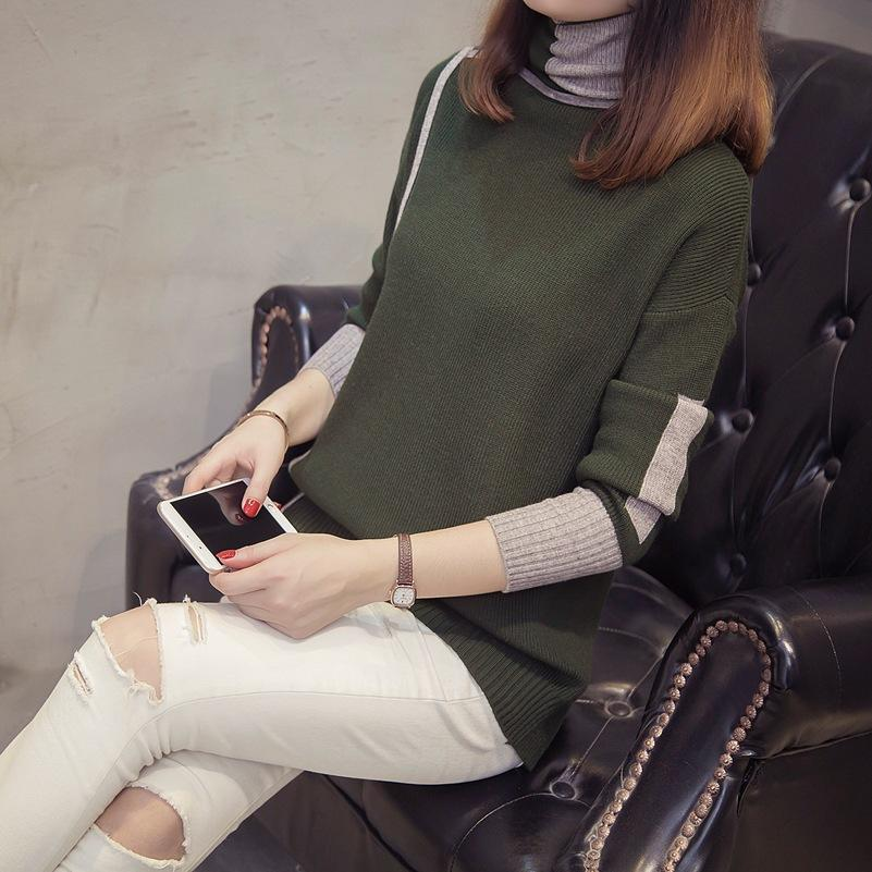 Autumn and winter   high-collared loose bottom sweater Gray m
