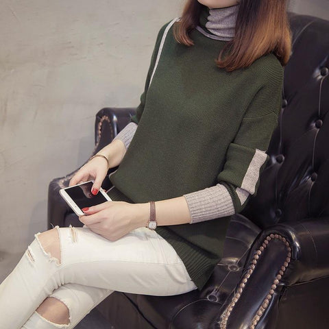 Image of Autumn and winter   high-collared loose bottom sweater Gray m