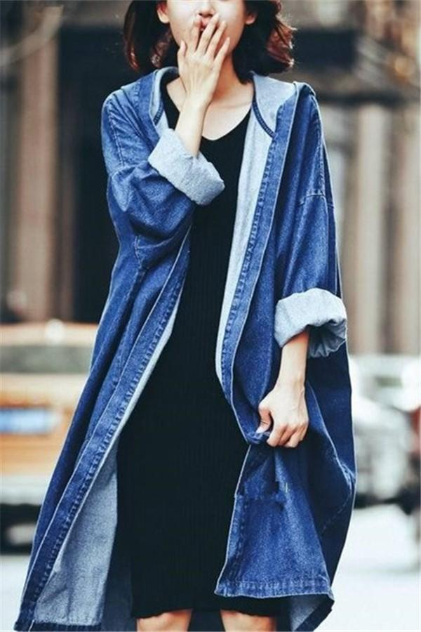 Fashion Pure Color   Baggy Medium Length Hooded Trench Coat Jeans Jacket Dark Blue one size