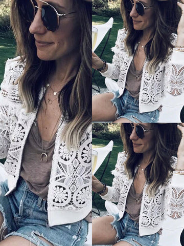 Image of Fashion Sexy Hollow   Lace Cardigan Jacket Coat White l