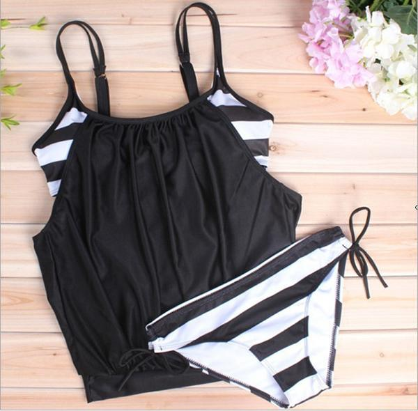 Sexy large size covered belly striped lace swimsuit Black m