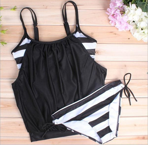 Image of Sexy large size covered belly striped lace swimsuit Black m