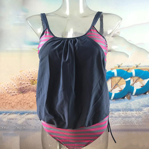 Image of Sexy large size covered belly striped lace swimsuit Black 2xl