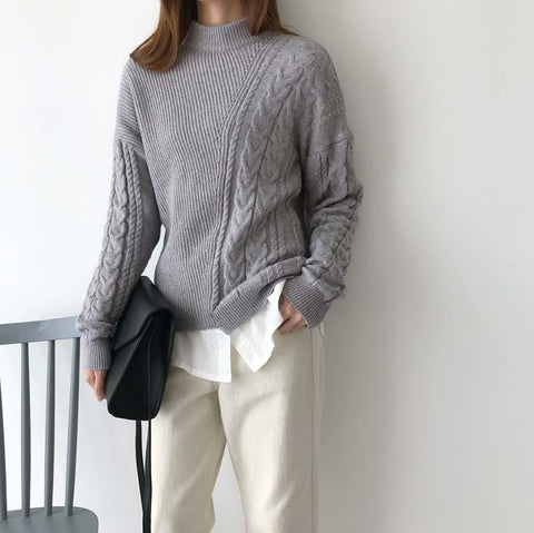 Image of Autumn And Winter   Fashion Loose Coarse Sweater Apricot one size
