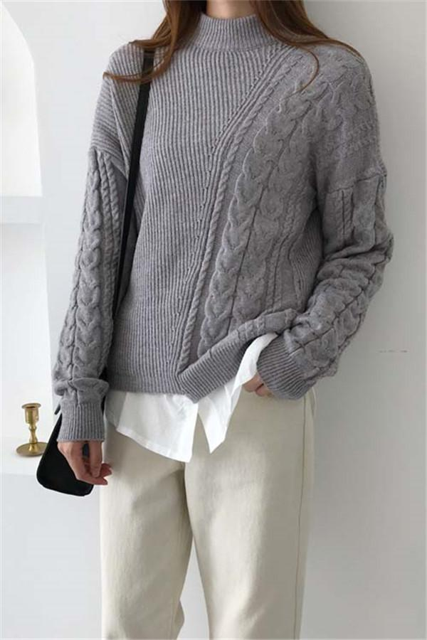 Autumn And Winter   Fashion Loose Coarse Sweater Gray one size