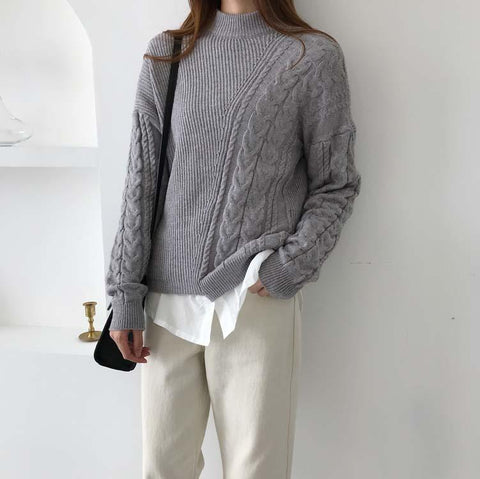 Image of Autumn And Winter   Fashion Loose Coarse Sweater Brown one size