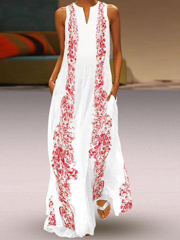 Floral Printed Maxi Casual Dress red l