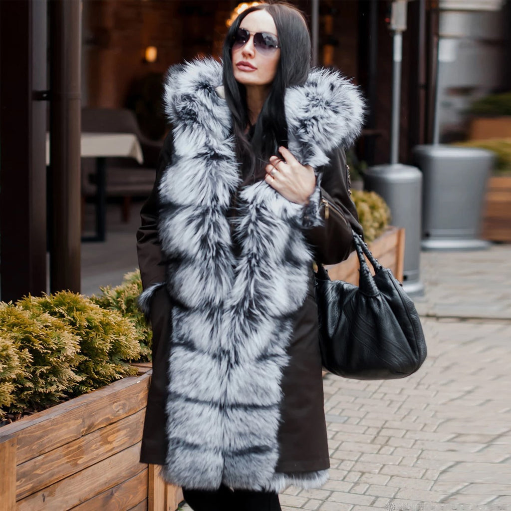 Fashion Faux Fur Design Thickened Hooded Long Overcoat