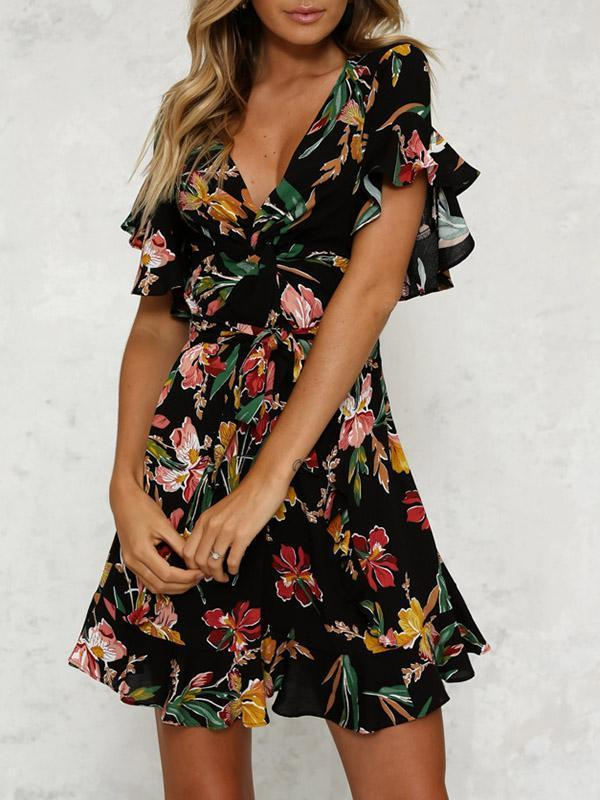 Floral Printed Falbala Belted Mini Dress BLACK S