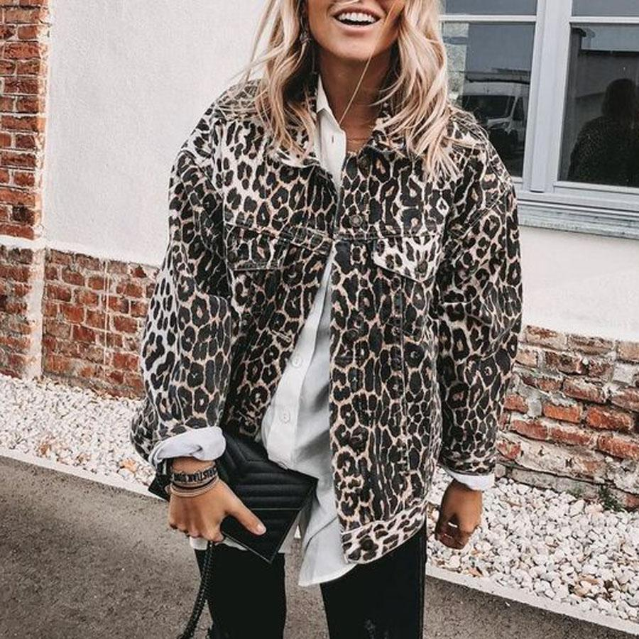 Fashion Casual Leopard Print Long Sleeve Loose Coat
