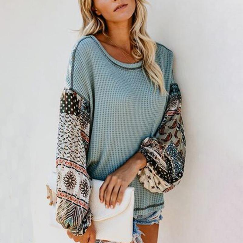 Round  Neck  Print  Sweaters Green m