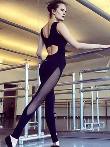 Black Gauze Yoga Close-fitting Jumpsuit BLACK S