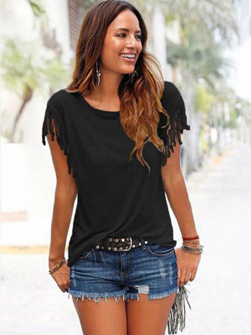 Image of Short-sleeved Round Neck Tassels Cotton T-Shirt 8 Colors BLACK L