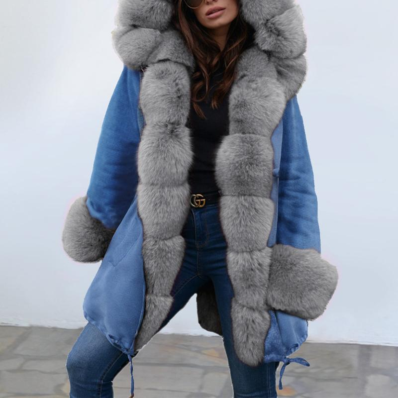 Fahion Long Sleeve Hooded Fur Coat