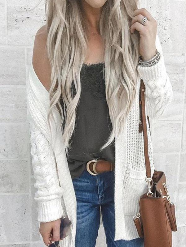 White Long Sleeves Cardigan Top WHITE M