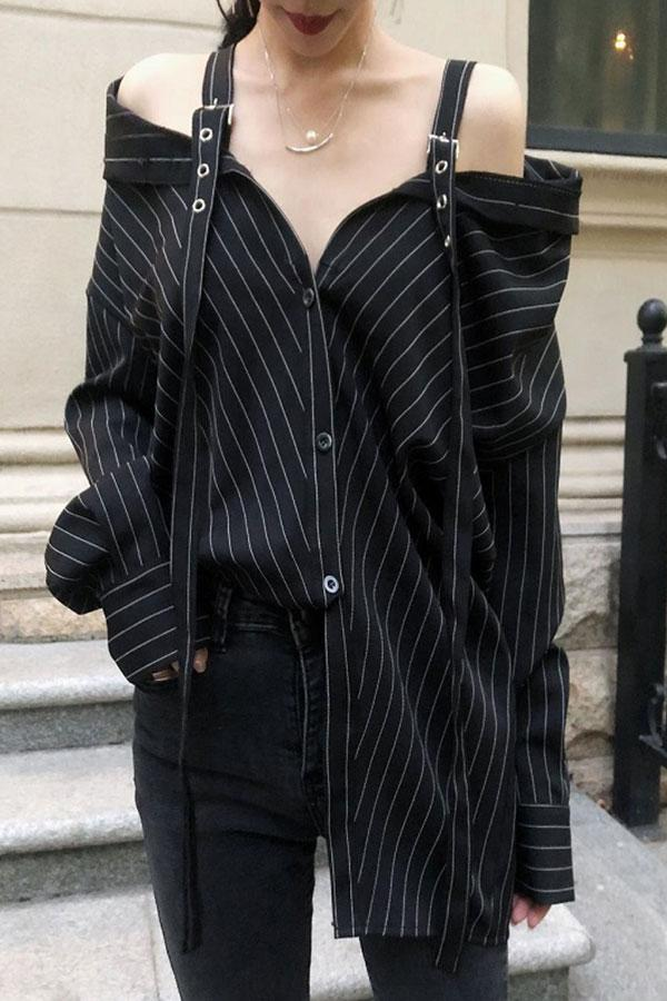 Strap Vertical Stripes Strapless Long Sleeve Loose Shirt Black one size