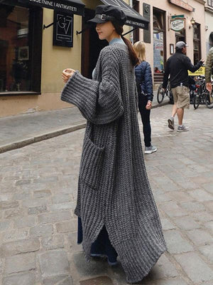 Super Loose Knitting Long Outwear GRAY FREE SIZE