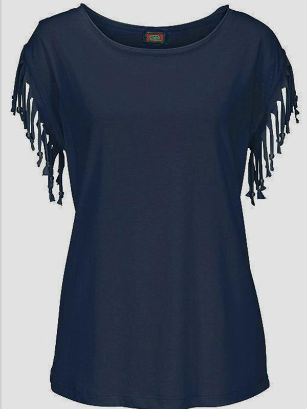 Short-sleeved Round Neck Tassels Cotton T-Shirt 8 Colors BLACK XL