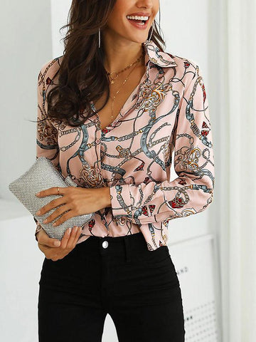 Image of Joygos Long Sleeves V-neck Floral Blouses&shirts Tops