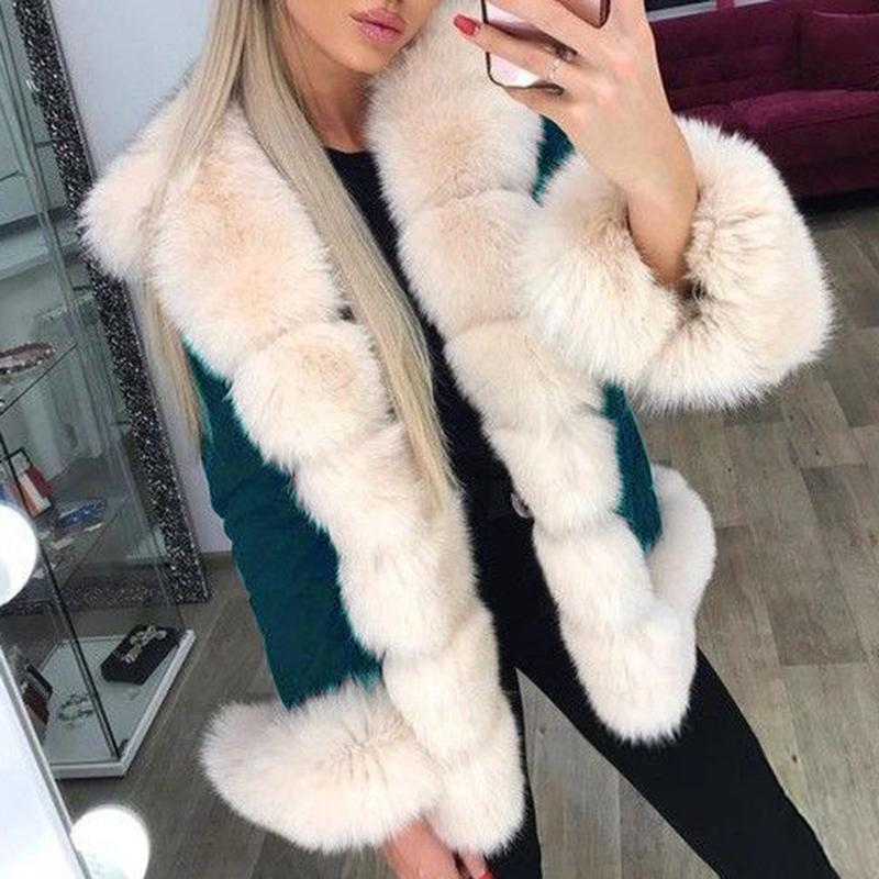 Fashion fur collar solid color long sleeve plus velvet coat