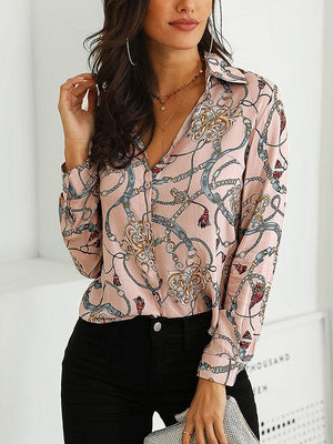 Joygos Long Sleeves V-neck Floral Blouses&shirts Tops