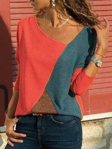 Split-joint Color Round-neck T-Shirt Tops RED S