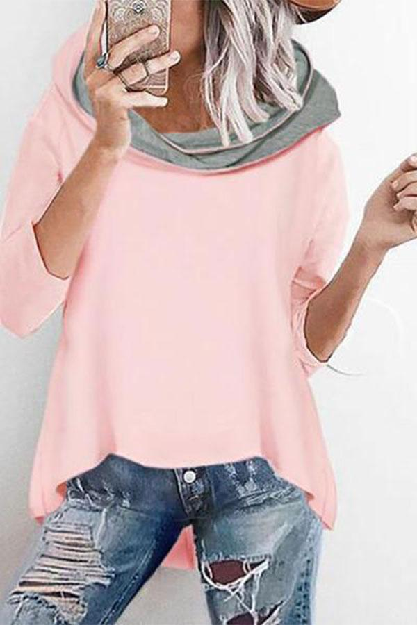 Fashion Loose Hooded Irregular Casual Sweater pink s