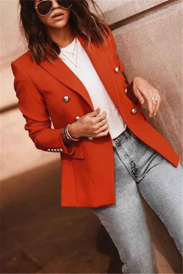 Autumn And Winter   Fashion Pure Color Suit Jacket Bright Orange s