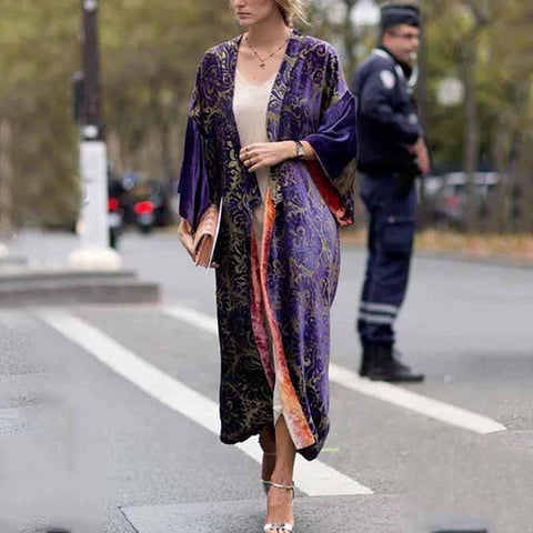 Image of Printed Colour Long   Sleeve Coat Same As Photo l