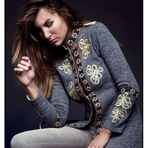 Image of Fashion Inwrought Long   Sleeve Coat Same As Photo m