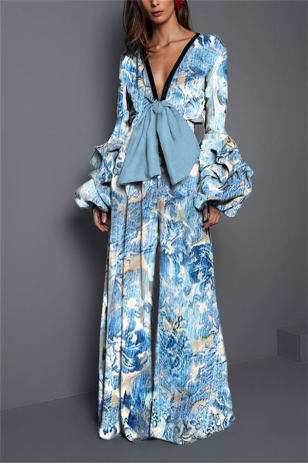 Sexy V collar   long-sleeved print waist trousers Blue s