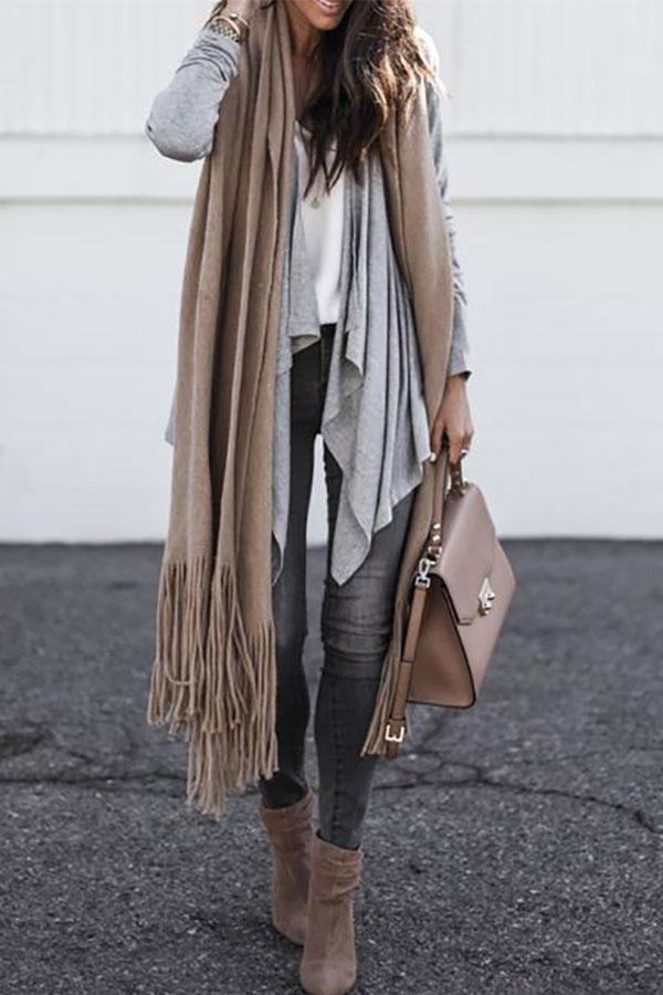 Irregular Long Sleeve Lapel Cardigan same_as_photo s