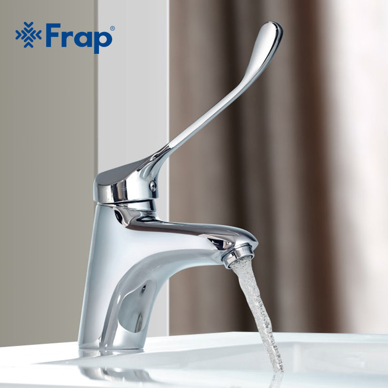 Frap Brass Long handle Bathroom Basin Faucet Mixer Tap Deck Mounted sink Medical hygiene Faucet  F1054